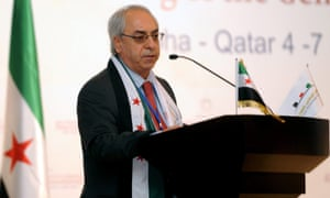 Head of the opposition Syrian National Council (SNC) Abdel Basset Sayda speaks during the meeting of the General Assembly of the Syrian National Council in Doha, Qatar.