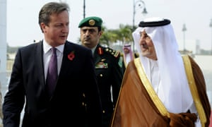 Saudi Saudi Emir of Mecca, Prince Khalid bin Faisal bin Abdulaziz  welcomes British prime pinister David Cameron as he arrives in Jeddah.