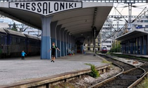 Children play on a deserted station platform at a central train station during the first day of the 48-hour nationwide general strike, in the northern port city of Thessaloniki, Greece, on Tuesday, Nov. 6, 2012.