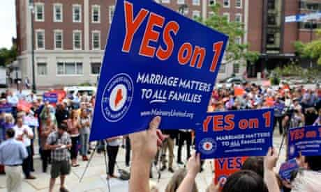 US voters rally in Portland, Maine, in support of the ballot to legalize same-sex marriage