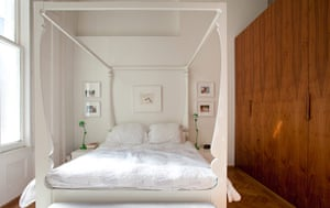 Homes: Little Venice: Bedroom with a modern white four poster bed