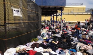 Volunteers sort through clothes on election day outside a polling place on Staten Island