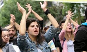 Protesters in Patras, Greece