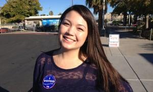 Emi Horiai, 26, of Las Vegas, Nevada, supports Barack Obama.