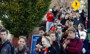 Voters wait in line at the Ohio Union to cast their ballots at the Ohio State University in Columbus, Ohio.