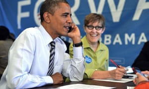 Barack Obama calls a volunteer from a campaign office in Chicago, Illinois, on election day 2012.