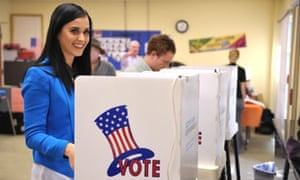 Pop-ular vote: Singer Katy Perry casts her election ballot at a polling place in Los Angeles.