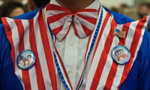 A patriotic party goer awaits election results at the US Embassy in London.