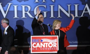 Rep Eric Cantor and his wife Diana wave to the crowd at the Republican Party of Virginia post election event at the Omni Hotel in Richmond, Virginia.