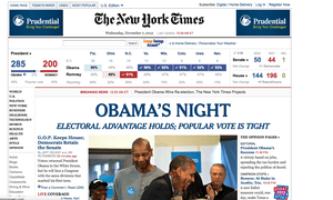 New York Times website announces Obama's victory