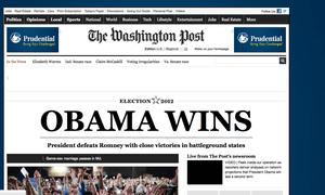Washington Post website announces Obama's victory
