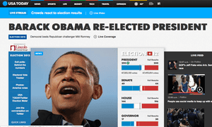 USA Today website announces Obama's victory.
