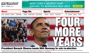 New York Post website announces Obama's victory.