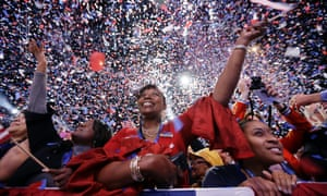 Supporters cheer at the end of President Barack Obama speech during an election night party in Chicago.