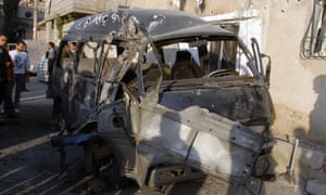 A vehicle was targeted by mortar fire in the Damascus district of Mezzeh.  Fierce clashes, shelling and bomb attacks rocked Damascus, a watchdog said, as violence moved increasingly from the suburbs into districts of the capital.
