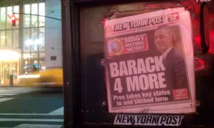 The New York Post on the day after Barack Obama's second election victory. Photograph: Paul Owen for the Guardian