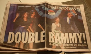 The New York Daily News on the day after Barack Obama's second election victory. Photograph: Paul Owen for the Guardian