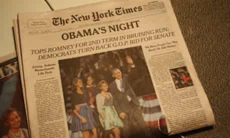 The New York Times on the day after Barack Obama's second election victory. Photograph: Paul Owen for the Guardian