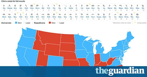 Battle Of The US Election Maps News The Guardian - The guardian us presidential election 2012 map