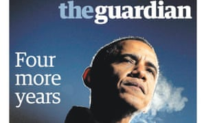 The Guardian newspaper front page 4.30am edition of Barack Obama winning the US election.