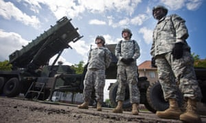US soldiers in front of a Patriot missile battery in Poland in May 2010.