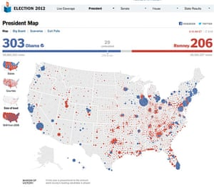 US election maps: New York Times election map showing size of lead
