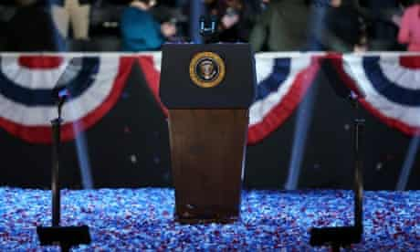 The podium stands surrounded by confetti after the election night at McCormick Place in Chicago, Illinois.
