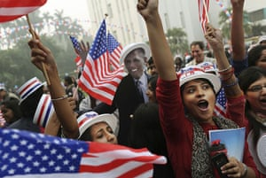 World election reaction: New Delhi, India: Indian students react  to results