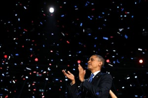 World election reaction: Chicago, USA: President Barack Obama stands on stage and applauds