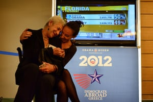 World election reaction: Athens, Greece: Democrats in Greece react in Athens Hotel