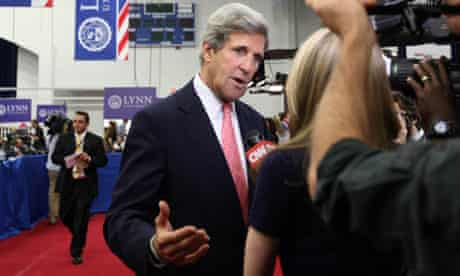 Senator John Kerry is interviewed during the presidential election campaign