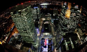 A birds eye view of Canary Wharf, London, lit up at night. Photograph: David Parry/PA