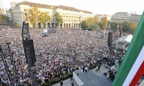 Hungarian Prime Minister Viktor Orbán addresses supporters at a rally