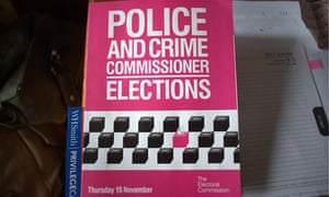 A leaflet highlights the coming police commissioner elections