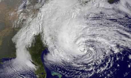 A satelllite image of superstorm Sandy