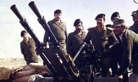 Saddam Hussein at the Iraq-Iran border during Iraq-Iran war Photograph: AFP