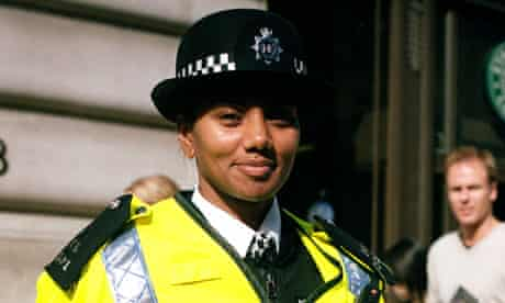 Black police officer in  central London.