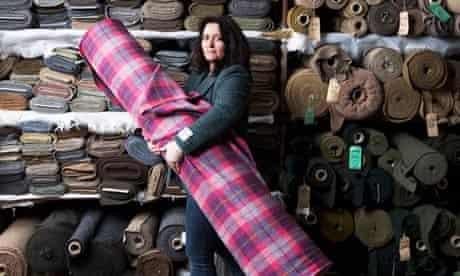 Harris tweed piled high