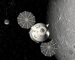 Nasa's Orion Crew Vehicle passes the Moon.