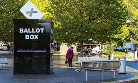A giant ballot box in Bristol