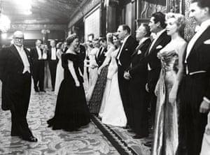 Queen Elizabeth meeting stars including Marilyn Monroe