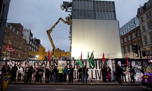 Construction workers protest at the Tottenham Court Road Crossrail site over alleged blacklisting