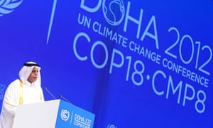 Qatar's deputy prime minister speaks at the Doha climate change summit