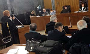 Prosecutor Ilda Boccassini (left) speaks during the trial against Italian former prime minister Silvio Berlusconi, accused of paying Moroccan nightclub dancer Karima El Mahroug, also known by the stage name Ruby Rubacuori, for sexual services, at a court in Milan, Italy, 10 December 2012.