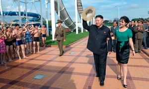 Kim Jong-un and wife Ri Sol-ju at the opening of the Rungna People's Pleasure Ground in Pyongyang