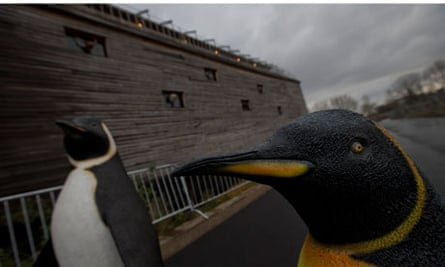 Life-seize replica's of penguins are seen outside a full scale replica of Noah s Ark