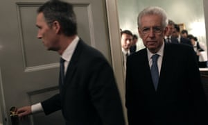Norwegian Prime Minister Jens Stoltenberg (L) is followed by Italian Prime Minister Mario Monti before addressing the press on the sidelines of a working lunch for the EU leaders attending the Nobel Peace Prize Award Ceremony in Oslo on December 10, 2012.