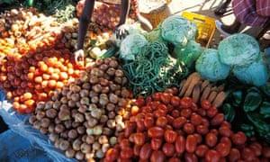 Vegetable market in Beira, Mozambique