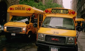 Yellow school buses in New York City, USA