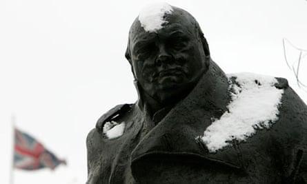 Winston Churchill statue in snow